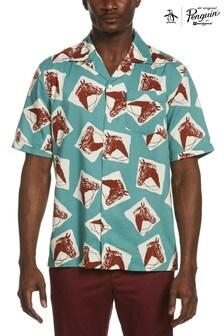 Original Penguin® Blue Horse Print Resort Shirt