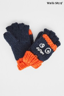 White Stuff Navy Kids Funny Face Flip Mittens