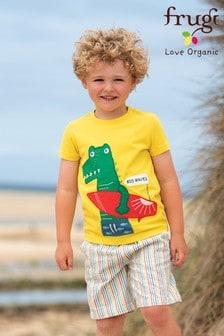 Frugi Red GOTS Organic Rainbow Seersucker Shorts