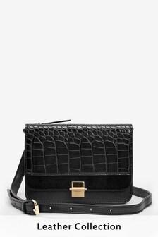 Black Croc Effect Across-Body Mini Bag