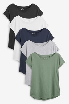 Multi Cap Sleeve T-Shirts Five Pack