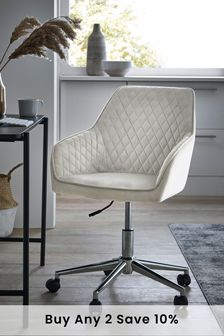 Opulent Velvet Light Grey Hamilton Arm Office Chair With Chrome Base