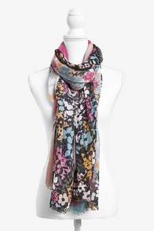 Colourful Floral Print Scarf