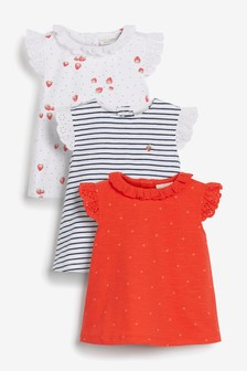 Red/White/Navy 3 Pack Strawberry Tops (0mths-2yrs)