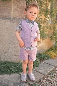 Pink Waistcoat, Shirt And Shorts Set (3mths-9yrs)