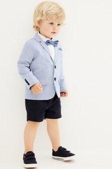White/Blue Blazer, Shirt And Shorts Set (3mths-9yrs)