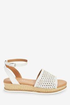 White/Silver Forever Comfort® Weave Flatform Sandals