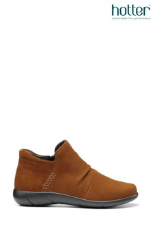 Hotter Brown Marly Wide Fit Zip Fastening Ankle Boots
