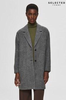 Selected Femme Black Tweed Effect Overcoat
