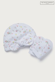 The White Company White Marcie Floral Bow Hat & Mitts Set