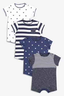 Navy/White 4 Pack Stripe And Star Short Leg Rompers (0mths-3yrs)