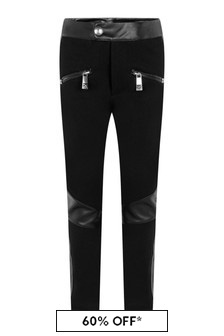 Girls Black Viscose Faux Leather Trousers
