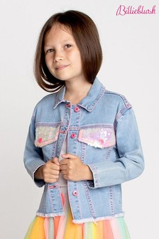 Billieblush Blue Bleach Denim Sequin Jacket