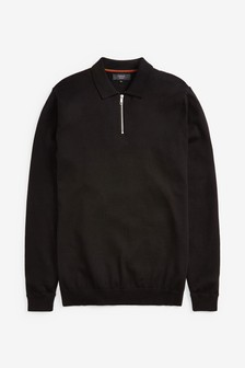 Black Knitted Zip Neck Polo Shirt