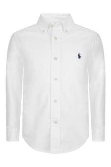 Boys White Long Sleeve Shirt