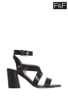 F&F Black Strappy Heel Sandals
