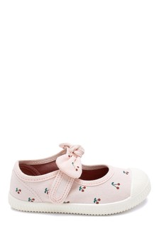 Pink Bow Canvas Bumper Toe Mary Jane Shoes