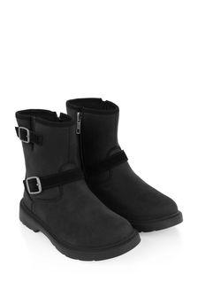 Kids Black Suede Kinzey Weather Boots