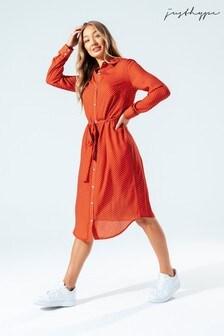 Hype. Womens Brown Brick Polka Dot Shirt Dress