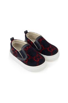 Navy GG Wool New Board Slip-On Trainers