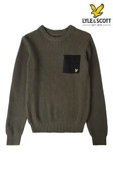 Lyle & Scott Green Woven Pocket Knitted Jumper