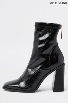 River Island Black Sock Heel Boots