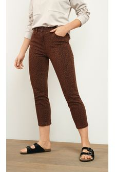 Leopard Print Cropped Straight Jeans