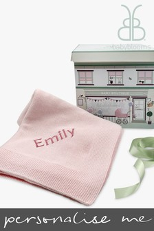 Babyblooms Personalised Pink Luxury Knitted Baby Blanket