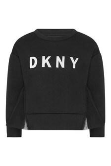 Girls Black Logo Print Sweater