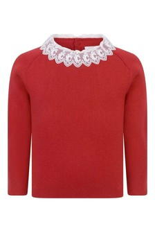 Red Girls Red Cotton & Wool Knitted Sweater