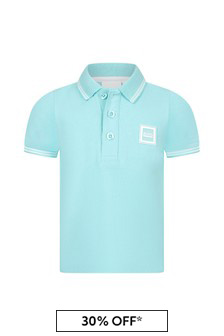 Boss Kidswear Baby Boys Green Cotton Polo Shirt