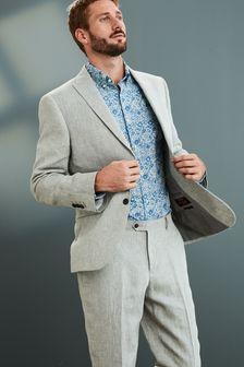 Grey Tailored Fit Signature Linen Suit: Jacket