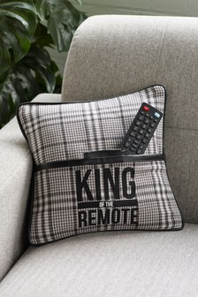 Grey King Of The Remote Cushion