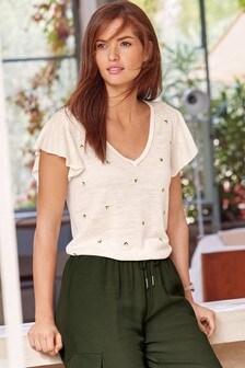 Lemon Embroidered Linen Blend Ruffle T-Shirt