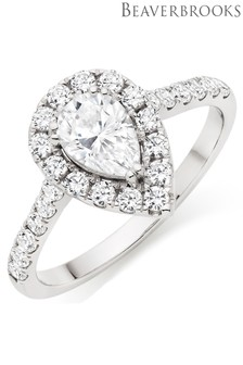 Beaverbrooks 9ct White Gold Cubic Zirconia Pear Halo Ring