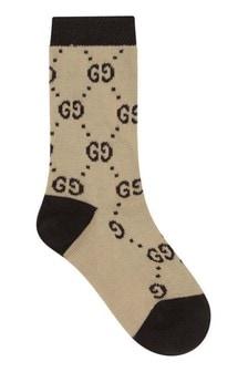Beige Cotton Interlocking G Socks