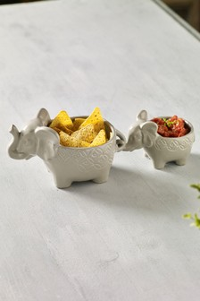 Set of 2 Elephant Dip Bowls