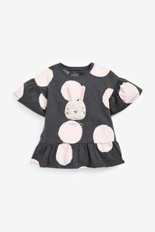 Black/White Bunny Organic Cotton Peplum T-Shirt (3mths-7yrs)