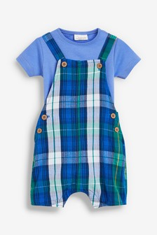 Blue Check Dungarees And Bodysuit Set (0mths-2yrs)