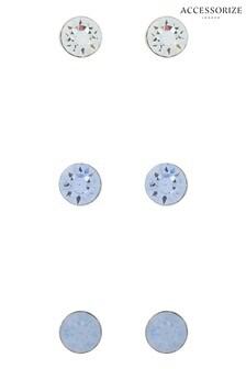 Accessorize Blue Stud Set With Swarovski® Crystals