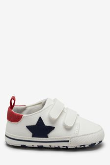 White Double Strap Star Pram Shoes (0-24mths)