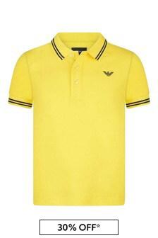 Boys Yellow Cotton Pique Polo Top