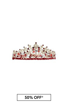 Girls Gold/Red Diamanté Tiara Headband