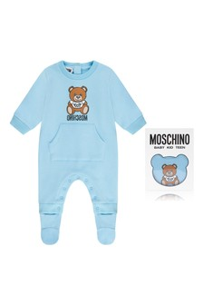 Blue Cotton Fleece Babygrow
