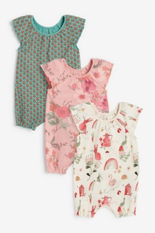 Rust Floral 3 Pack Gathered Neck Printed Rompers (0mths-3yrs)