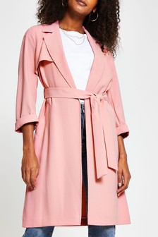 River Island Pink Cinched Cuff Belted Duster Jacket
