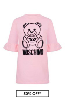 Girls Pink Cotton Teddy Dress