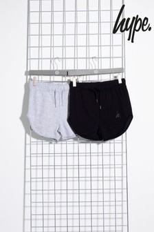 Hype. Black/Grey Two Pack Kids Runner Shorts