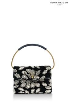 Kurt Geiger London Black Beige Mini Ring Kensington Bag