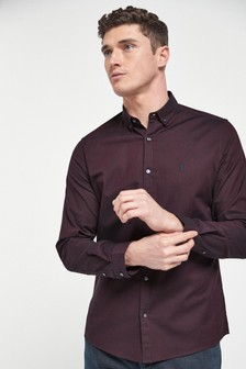 Purple Slim Fit Long Sleeve Stretch Oxford Shirt